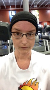 A soft black hat perfect for working out. This was free at my local cancer center.