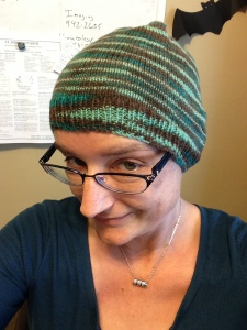 A comfy hat sent by my Aunt Cathy.